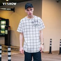 viishow2017男士短袖T恤格子衣服印花纯棉体恤半截袖夏天男t恤潮