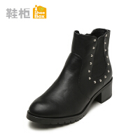 shoebox鞋柜冬季欧美简约铆钉短靴潮 侧拉链中跟女靴切尔西靴