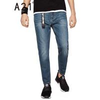 以纯线上品牌a21 2017夏装新款牛仔裤男简约舒适低腰牛仔小脚九分裤