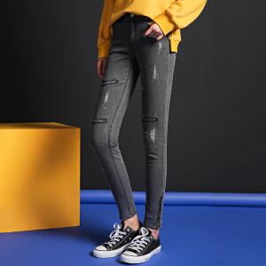 【9.21超级品牌日】七格格 2017新款 时尚水洗九分磨破小脚牛仔裤女X634