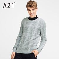 以纯A21潮牌针织衫男灰色套头毛衣男 学生男士毛衣圆领外套冬季青少年