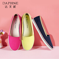 Daphne/达芙妮春季女单鞋低跟平底套脚拼色休闲 单鞋女1515101034