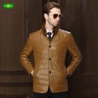 逸纯印品(EASZin)男士羽绒服 仿真水洗皮 中年 短款 拉链 立领 韩版男装外套