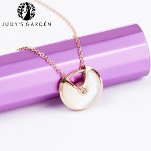 【茱蒂的花园】3D弧型油亮面镶嵌锆钻项链锁骨链颈链吊坠玫瑰金真金电镀钛钢女款女式送女友生日礼物