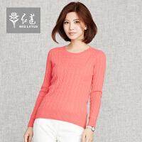 红莲 羊绒衫新款圆领绞花套衫针织毛衣女款
