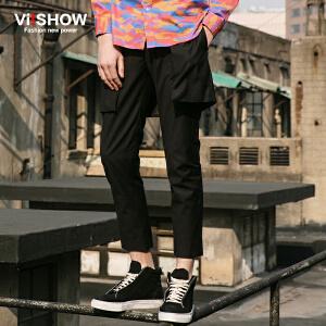 viishow春装新款休闲长裤 欧美街头时尚潮裤男 个性黑色长裤
