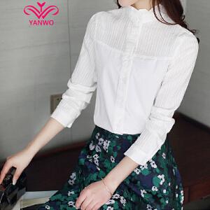 演沃 2017春装新款韩版女长袖百搭立领清新花边甜美纯棉打底衬衣