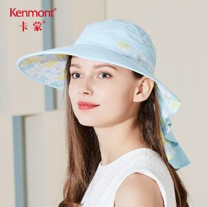 卡蒙防晒帽子遮脸防紫外线电动车可扎发大沿帽透气护脖功能速干帽3420