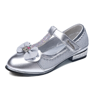 hellokitty女童鞋儿童公主鞋女孩皮鞋方口鞋单鞋韩版