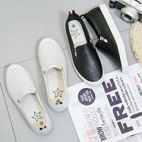 匡王2017夏季新款小白鞋女一脚蹬镂空透气平底板鞋学生百搭休闲鞋