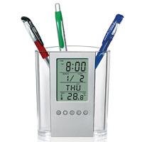 透明万年历电子时钟笔筒创意办公商务广告促销礼品可定制印LOGO