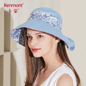 卡蒙棉麻大檐帽女士遮阳帽子夏出游防晒帽子可折叠凉感护颈太阳帽3454