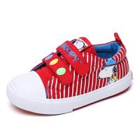 史努比童鞋帆布鞋条纹宝宝鞋魔术贴小童儿童板鞋男童