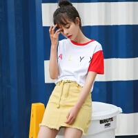 【两件5折】AGECENTRE时代中心 2017春女新款潮夏装字母印花拼接撞色宽松学生T恤