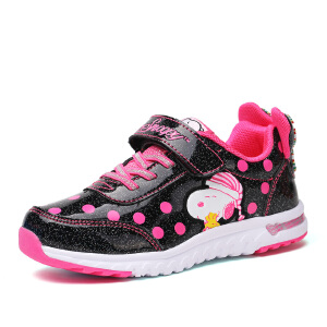 史努比童鞋女童运动休闲鞋学生中小童波点跑步旅游鞋子