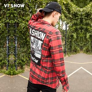 viishow2017春装新款长袖方领衬衫男青年格子衬衣涂鸦印花寸衫潮