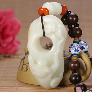 侯晓峰玉雕 新疆和田玉籽料白玉猴子扳指把玩件生肖灵猴210克
