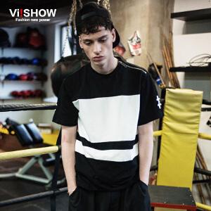 viishow夏装新款短袖T恤 欧美街头潮流短袖男 黑白撞色t恤潮