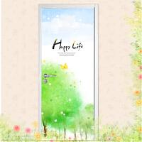 宜美贴 水彩手绘树林 客厅卧室书房餐厅室内*门贴韩国墙贴