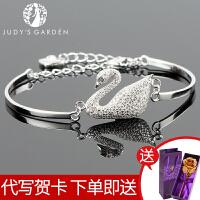 【茱蒂的花园】优雅S925银白天鹅手链纯白金色天鹅手镯女款女士女式手镯手环送女友女生七夕情人节生日礼物