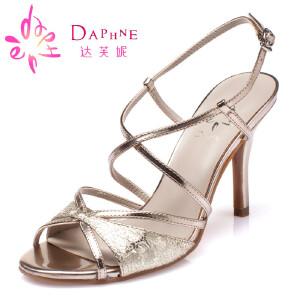 Daphne/达芙妮夏女鞋 时尚亮面酒杯跟绑带露趾凉鞋1015303036