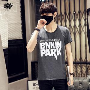 EASZin逸纯印品 男士短袖t恤 韩版宽松大码PAPK字母印花圆领加肥加大码半袖棉体恤