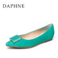 Daphne/达芙妮春女鞋 春季金属方扣羊皮内增高通勤单鞋