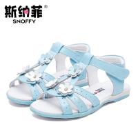 斯纳菲童鞋女童凉鞋真皮丁字公主凉鞋2017夏季新款花朵儿童凉鞋