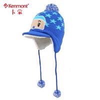 kenmont儿童帽子韩国秋冬天护耳帽卡通鸭舌帽男女童针织帽毛线帽5851