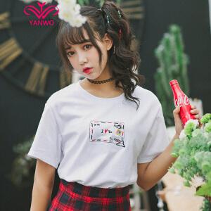 演沃 情书信封刺绣 宽松短袖T恤女 2017夏装 新款