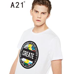 以纯线上品牌a21 2017夏装新款T恤男潮流街头印花圆领男装短袖上衣