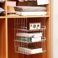 【可货到付款】欧润哲 多层可叠加下挂篮书架可挂 简易衣柜杂物收纳架厨房卫浴隔板衣服网篮收纳篮 3只