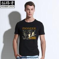 拓路者Pioneer Camp 男装夏季全棉T恤男短袖圆领体恤衫男士宽松大码t��白色半袖  405030