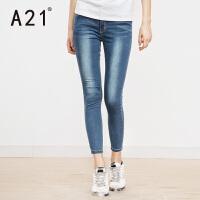 以纯A21女装修身弹力窄脚牛仔九分裤 2017年夏季新品简约百搭牛仔裤女