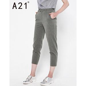 以纯线上品牌A21 2017夏装新款中腰百搭九分裤简约舒适纯色休闲裤女