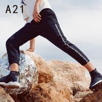 以纯线上品牌a21 夏季男装新款裤子运动裤男弹力束脚裤潮字母休闲裤小脚九分裤