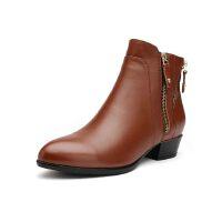 富贵鸟 欧美休闲尖头短靴 真皮骑士靴粗跟女鞋子绒里