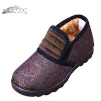 欣清老北京布鞋妈妈鞋棉鞋秋冬短靴平底中老年女鞋女鞋及踝靴
