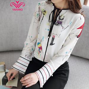 演沃 2017春装新款喇叭袖V领雪纺上衣卡通印花图案雪纺衫衬衫