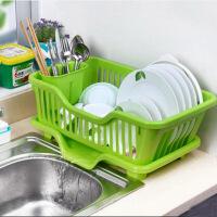 厨房置物架 塑料加厚滴水碗碟收纳架 滤水沥水碗碟架 滴水碗架(正面漏水)--绿色