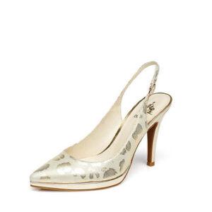 达芙妮春夏款细高跟尖头扣带宴会真皮单鞋1015102043