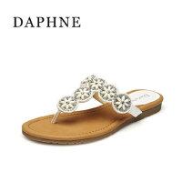 Daphne/达芙妮夏女凉鞋 罗马风平底防滑人字拖1015303116