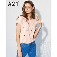以纯线上品牌a21 2017夏新款女T恤圆领时尚休闲趣味印花短袖上衣