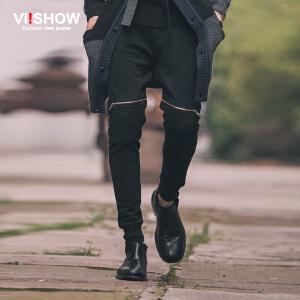 viishow秋装新款休闲长裤 欧美街头系带休闲裤 男卫裤修身潮 K139653