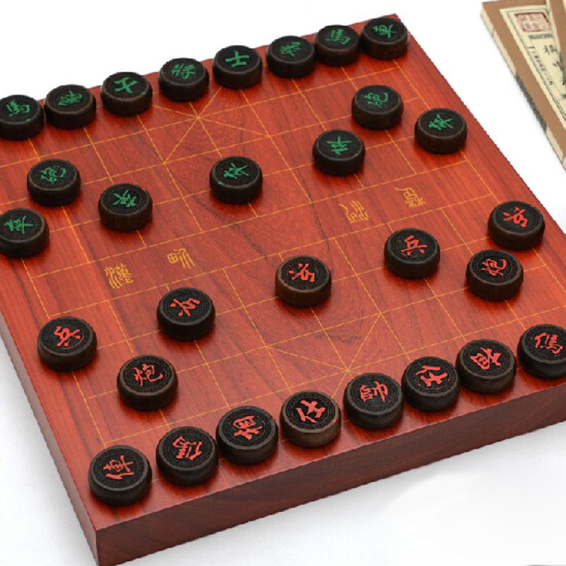红木象棋套装 红木象棋盘 鸡翅木象棋子 中国象棋实木刻线套装