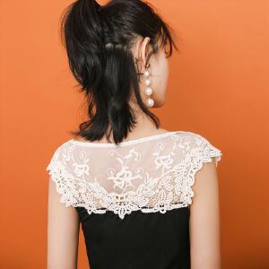 【9.21超级品牌日】七格格蕾丝打底衫女夏装镂空纯色莫代尔韩版修身显瘦中长款白色无袖背心
