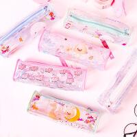 韩版简约文具纯文字个性笔袋化妆包文具盒学生笔袋铅笔袋