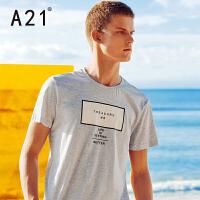 以纯线上品牌a21 男款半袖新款2017潮T恤男短袖青年修身时尚百搭字母印花体恤男