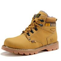 男靴子毛靴休闲工装靴真皮英伦短靴男鞋冬季加绒保暖棉工装鞋