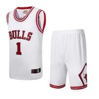 公牛队罗斯1号球衣白色白色篮球服1号罗斯24号科比3号艾弗森35号杜兰特2号欧文23号詹姆斯23号乔丹